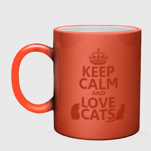 Кружка хамелеон  Фото 02, Keep calm and love cats.