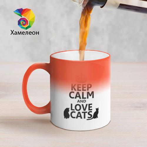 Кружка хамелеон  Фото 05, Keep calm and love cats.