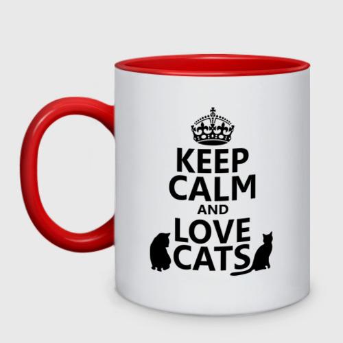 Кружка двухцветная  Фото 01, Keep calm and love cats.
