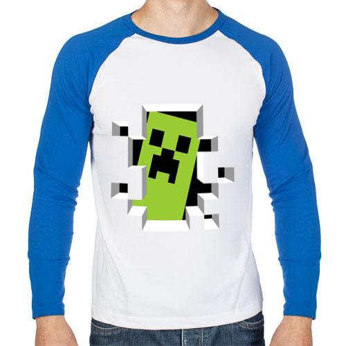 """Мужская футболка-реглан с длинным рукавом """"Crash Minecraft"""" - 1"""