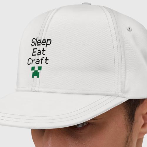 Кепка снепбек с прямым козырьком Sleep, eat, craft Фото 01