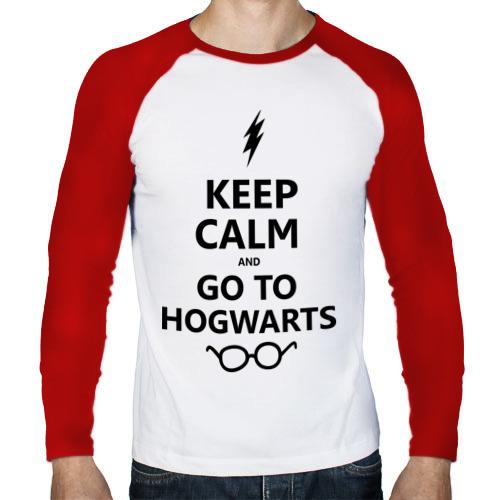 Мужской лонгслив реглан  Фото 01, Keep calm and go to hogwarts.