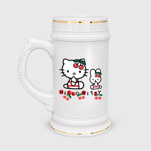 Кружка пивная  Фото 01, Вишенки Hello Kitty