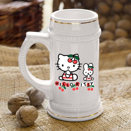 Кружка пивная  Фото 04, Вишенки Hello Kitty