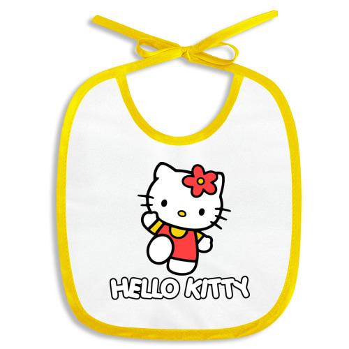 Слюнявчик Hello Kitty с цветком