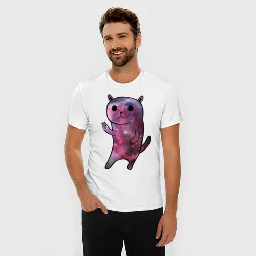 Мужская футболка премиум  Фото 03, Galaxy cat