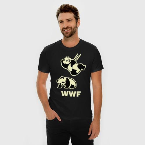 Мужская футболка премиум  Фото 03, Панда WWF Wrestling Challenge (светящаяся)
