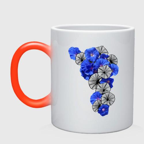 Кружка хамелеон  Фото 01, Blue flowers