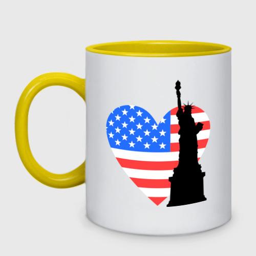 Кружка двухцветная  Фото 01, Люблю Америку