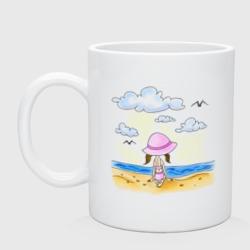 Дочь на пляже