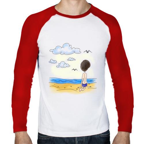 Мужской лонгслив реглан  Фото 01, Папа на пляже