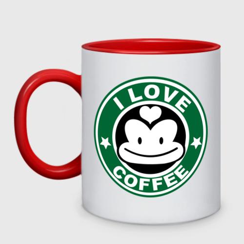 Кружка двухцветная  Фото 01, I love coffee (я люблю кофе)