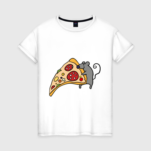 Женская футболка хлопок Кусочек пиццы парная Фото 01