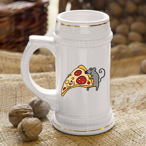 Кружка пивная Кусочек пиццы парная Фото 01