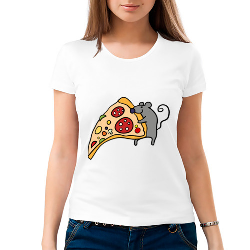 Женская футболка хлопок Кусочек пиццы парная