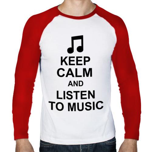 Мужской лонгслив реглан  Фото 01, Keep calm and listen to music