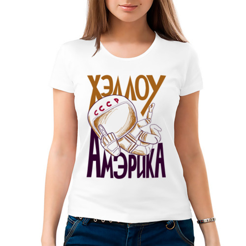 Женская футболка хлопок  Фото 03, Хэллоу Амэрика