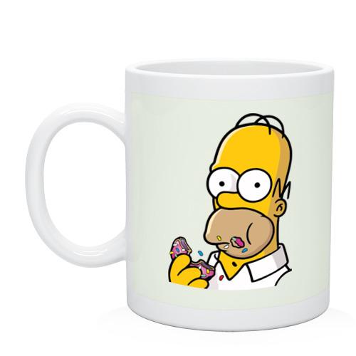"""Кружка """"Гомер с Пончиком"""" (белая) - 1"""