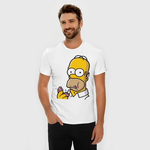 Мужская футболка премиум Гомер с  Пончиком