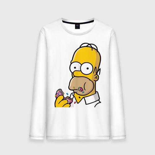 """Мужская футболка с длинным рукавом """"Гомер с пончиком"""" - 1"""
