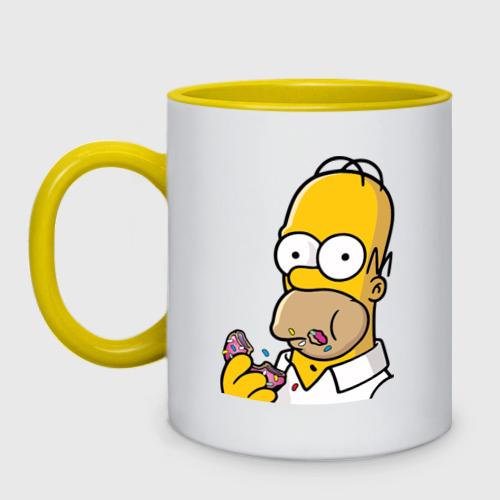 Кружка двухцветная Гомер с  Пончиком Фото 01