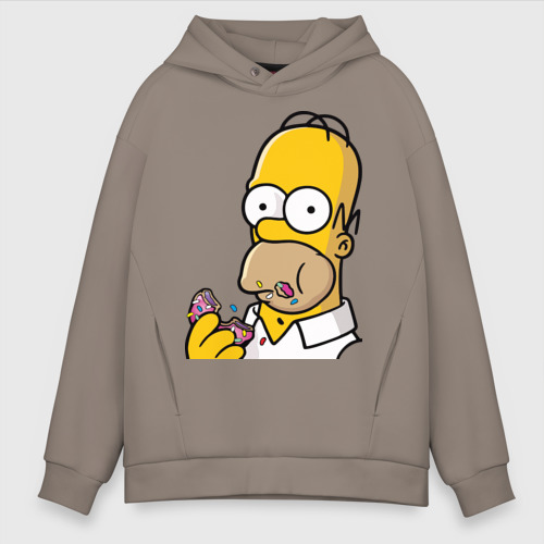 Мужское худи Oversize хлопок Гомер с  Пончиком Фото 01