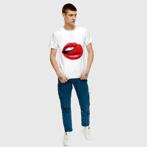 Мужская футболка хлопок Губы с клубникой Фото 01