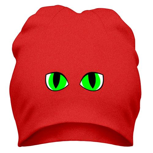 Шапка  Фото 01, Зеленые глаза кошки