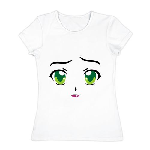 Женская футболка хлопок  Фото 01, Аниме зеленые глаза