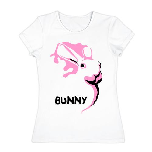 Женская футболка хлопок  Фото 01, Pink bunny