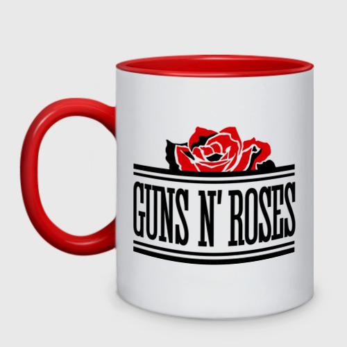 Кружка двухцветная Guns n roses red