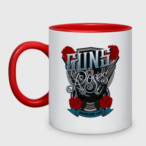 Кружка двухцветная Guns n roses illustration