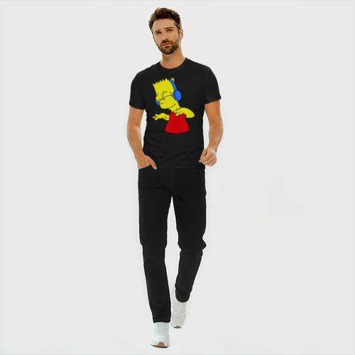 Мужская футболка хлопок Slim Барт в наушниках Фото 01