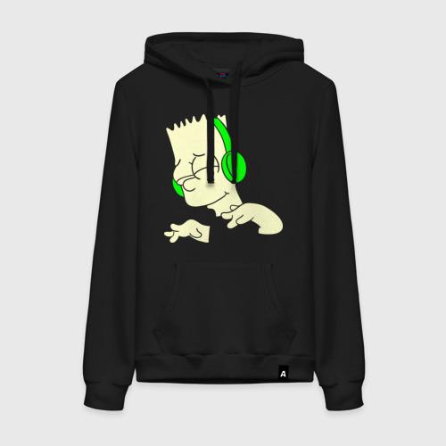 Женская толстовка хлопок Барт слушает музыку и светится