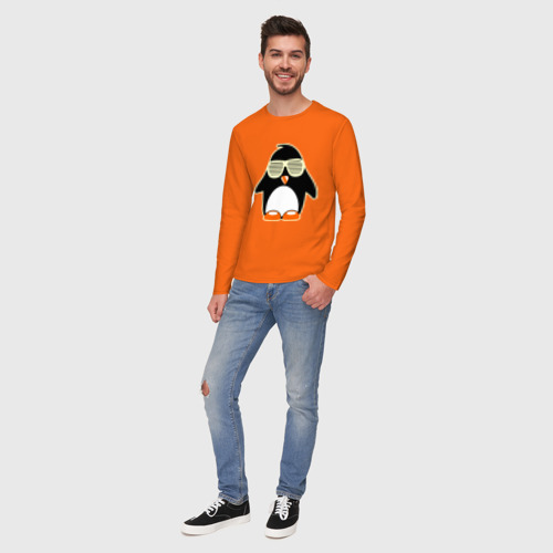 Мужской лонгслив хлопок Пингвин в очках-жалюзи glow Фото 01