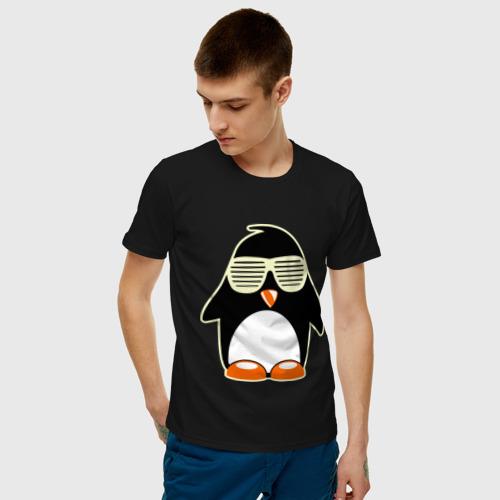 Мужская футболка хлопок Пингвин в очках-жалюзи glow Фото 01