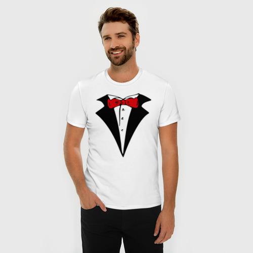 Мужская футболка премиум  Фото 03, Смокинг и красная бабочка