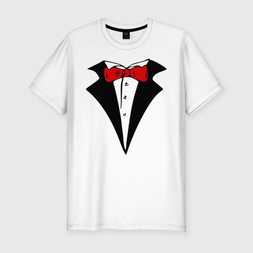 Мужская футболка премиум  Фото 01, Смокинг и красная бабочка