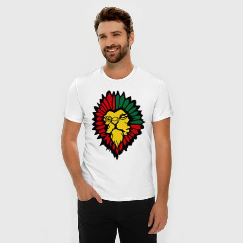 Мужская футболка премиум  Фото 03, лев растаман