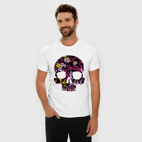 Мужская футболка премиум  Фото 03, Flower pattern skull