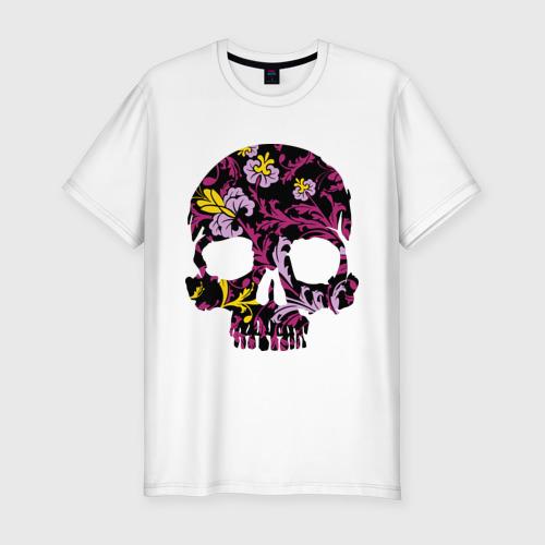 Мужская футболка премиум  Фото 01, Flower pattern skull