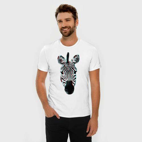 Мужская футболка премиум  Фото 03, Зебра watercolor