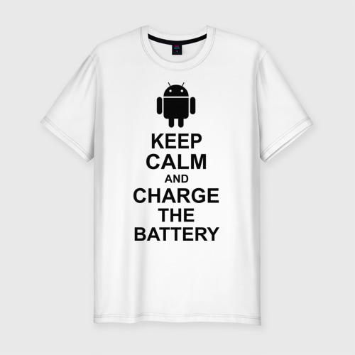 Мужская футболка премиум Keep calm and charge the battery (android) Фото 01