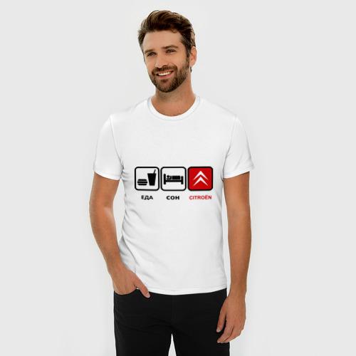 Мужская футболка премиум  Фото 03, Главное в жизни - еда, сон,citroen.