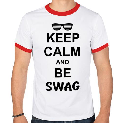 Мужская футболка рингер  Фото 01, Keep calm and be swag