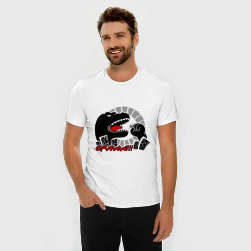 Мужская футболка премиум  Фото 03, Годзилла атакует
