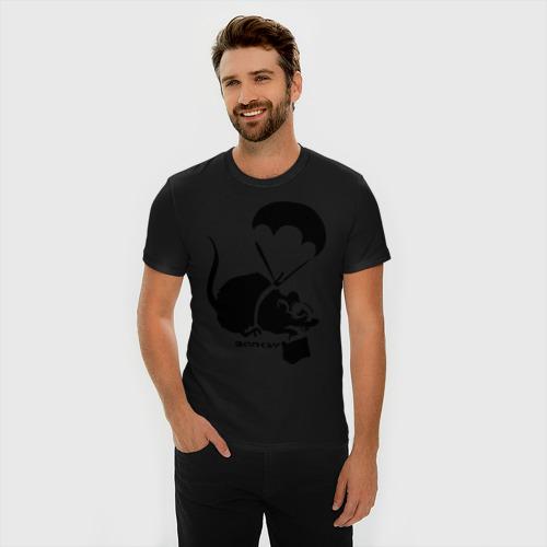 Мужская футболка премиум  Фото 03, Parachute rat (Banksy)