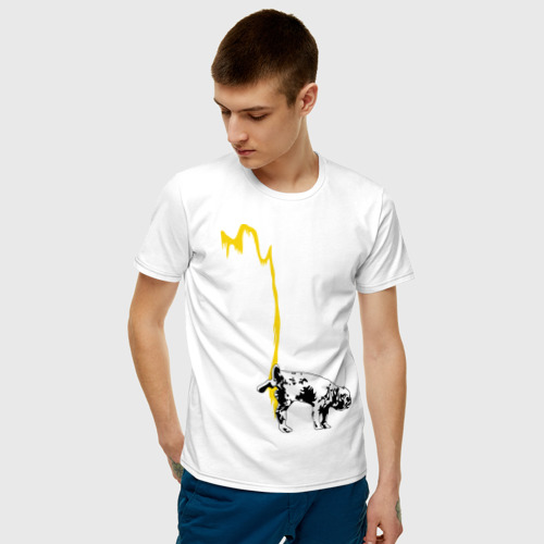 Мужская футболка хлопок Peeing dog (Banksy) Фото 01
