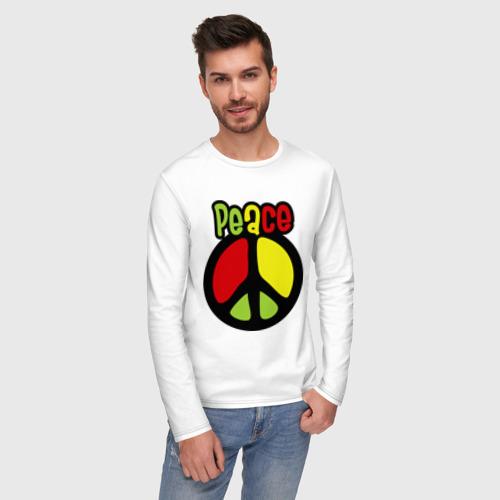 Мужской лонгслив хлопок Peace red, yellow, green Фото 01