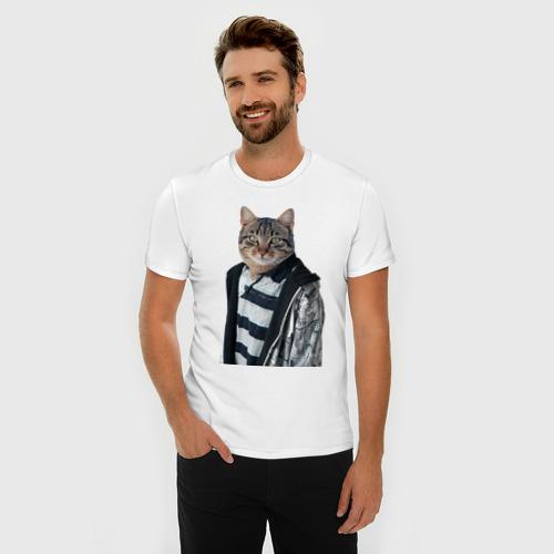Мужская футболка премиум  Фото 03, Cat or dog